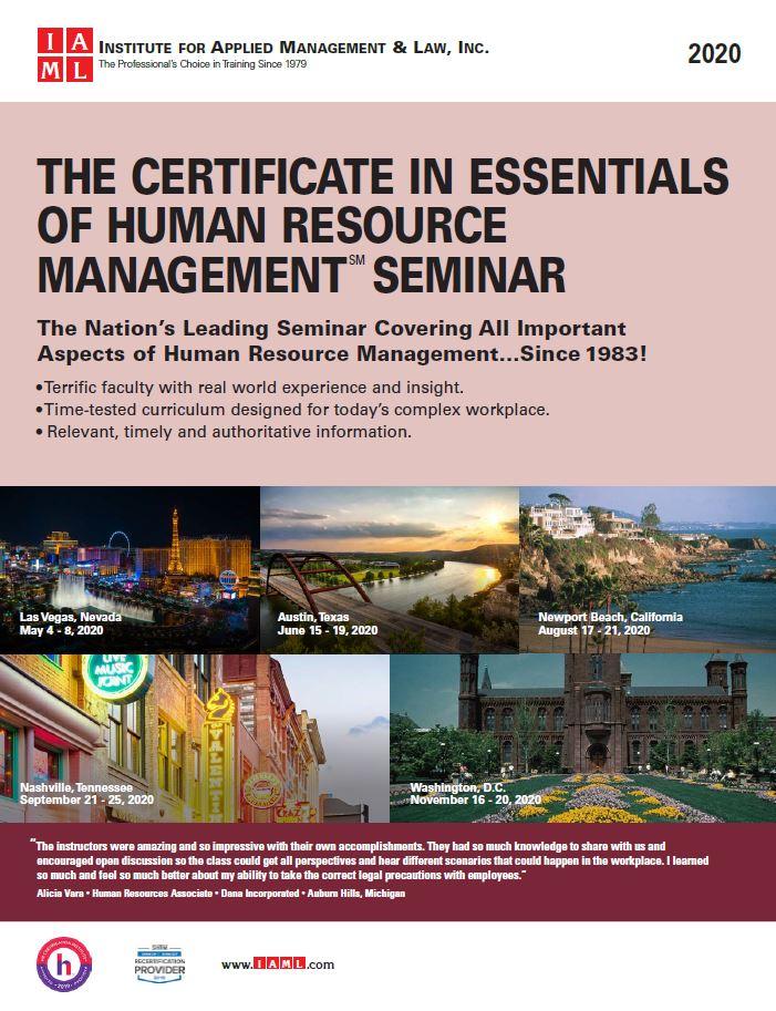 Certificate in Essentials of Human Resource Management Seminar